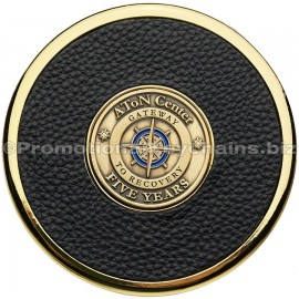 CustomLeatherCoasterwithMedallion-Gold