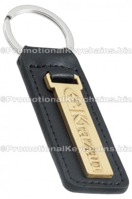 GenuineLeatherCustomKeyFob-LongGoldRectangle-Krazan