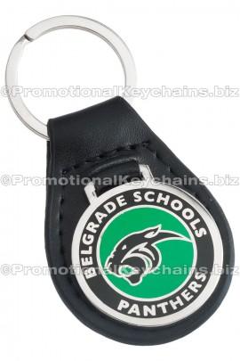 GenuineLeatherCustomKeyFob-RoundwithColorFill-BelgradeSchools