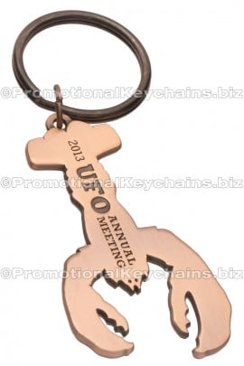 CustomLogoShapedMetalBottleOpenerKeychains-LobsterShapedCopper