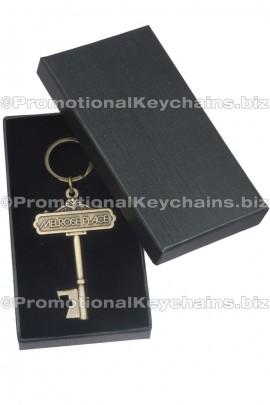 KeyShapedCustomizedBottleOpenerKeychainAntiqueBrassFinishShowninGiftBox