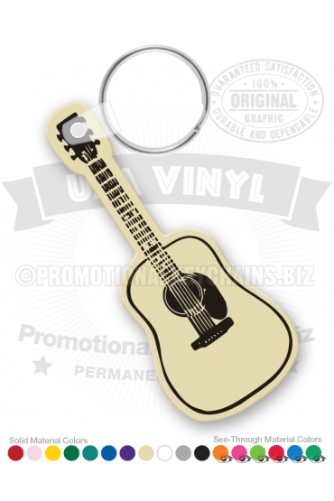 Acoustic Dreadnought Guitar Vinyl Keychain PK1581