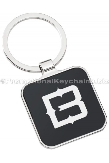 Black Series Square Engraved Metal Keychain Front View