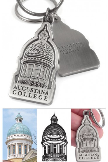 Building Commemorative Custom Metal Keychain Showing Creation Process - Augustana College