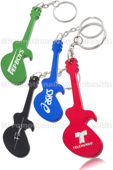 Custom Engraved Electric Guitar Shaped Bottle Opener Keychains