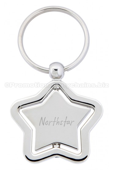 Spinning Elegant Star Engraved Promotional Keychain