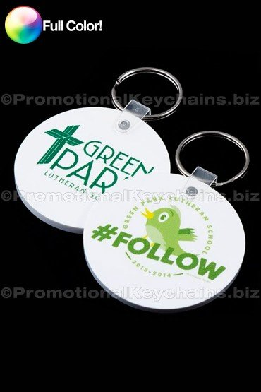 Full Color Large Round Vinyl Promotional Keychains