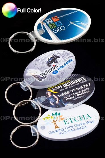Full Color Oval Vinyl Promotional Keychains