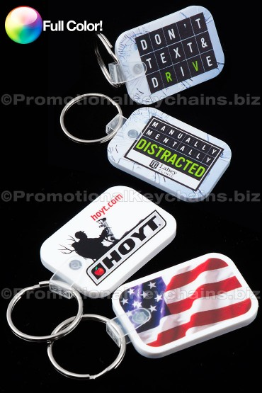 Full Color Rectangle with Rounded Corners Vinyl Keychains