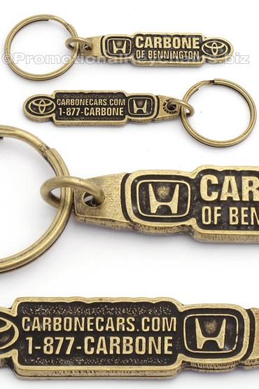Custom Keychains MetaCast Classic Metal - Brass - Honda Carbone Cars