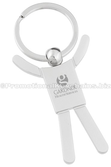 Silver Person Custom Engraved Metal Keychains