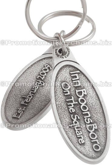 Custom Keychains Cast in Solid Pewter - Oval Shape