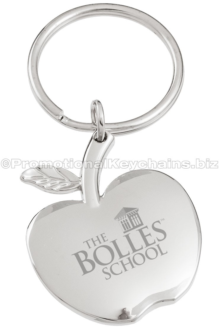 Elegant Apple Shaped Engraved Metal Keychains