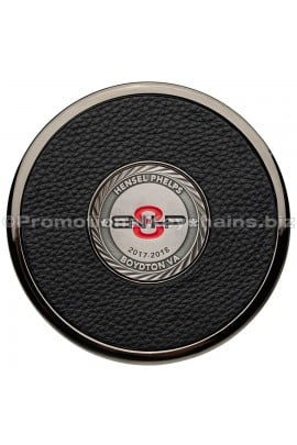 CustomLeatherCoasterwithMedallion-BlackNickel