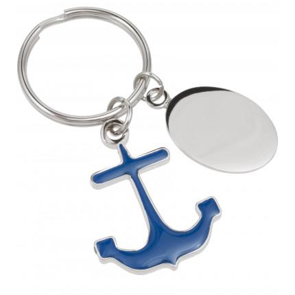 Color Enameled Metal Anchor Custom Engraved Keychain