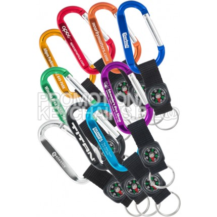 Carabiner Keychains With Compass Strap