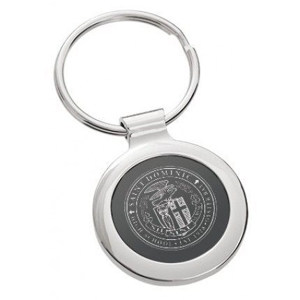 Classic Onyx Circle Custom Engraved Metal Keychain - Front View