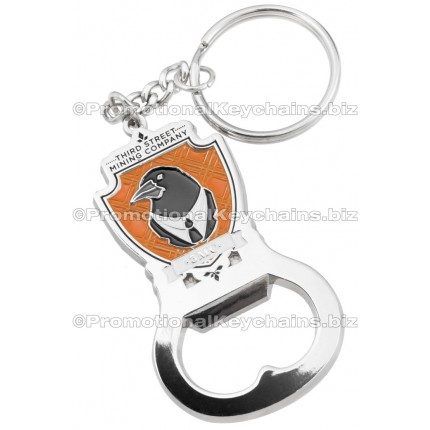 Custom Die Cast 3D/2D Bottle Opener Keychains - Polished Silver With Color Fill