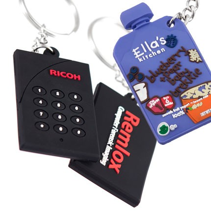 Custom Made 3-D PVC Keychains Multi-Colored