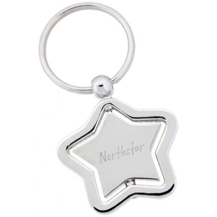 Spinning Elegant Star Engraved Promotional Keychain