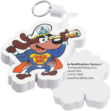 Custom Shaped Floating Key Chains Full Color Printed Foam - Dog with spyglass front