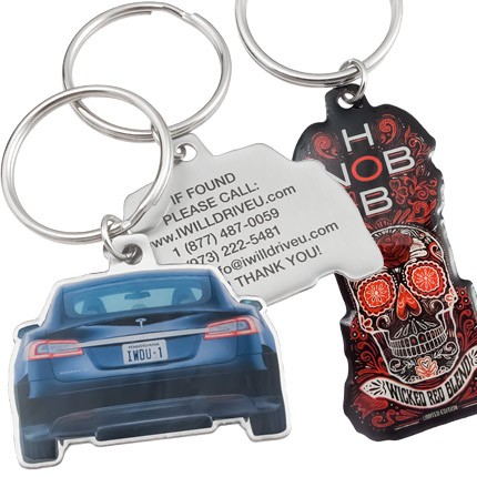 Custom Shaped Keychains With Full Color Imprint and Clear Coat on Stainless Steel - Car Shaped