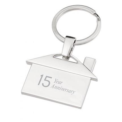 House Shaped Chrome Engraved Metal Keychain