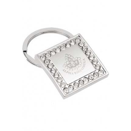 Jeweled Crystals Square Engraved Metal Keychain