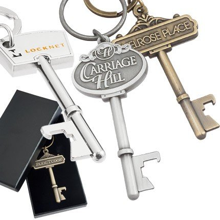 Key Shaped Customized Bottle Opener Promotional Keychains - Polished Nickel With Color Fill