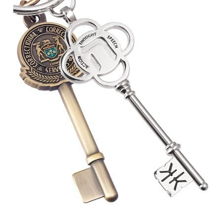 Custom Key Shaped Metal Keychain Antiqued Silver