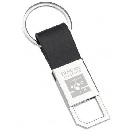 Leather Twist Engraved Keychain