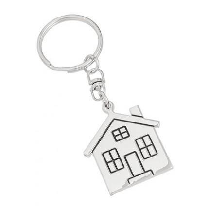 No Place Like Home House Engraved Keychain