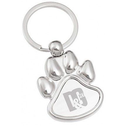 Paw Shaped Engraved Metal Keychain