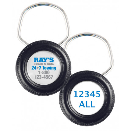 Rolling Tire Ring 2 Sided Color Keychains
