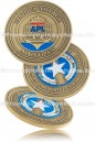 Coin Designed & Manufactured Commemorating a New Container Ship Launch With Antiqued Gold Plating & Enamel Colors