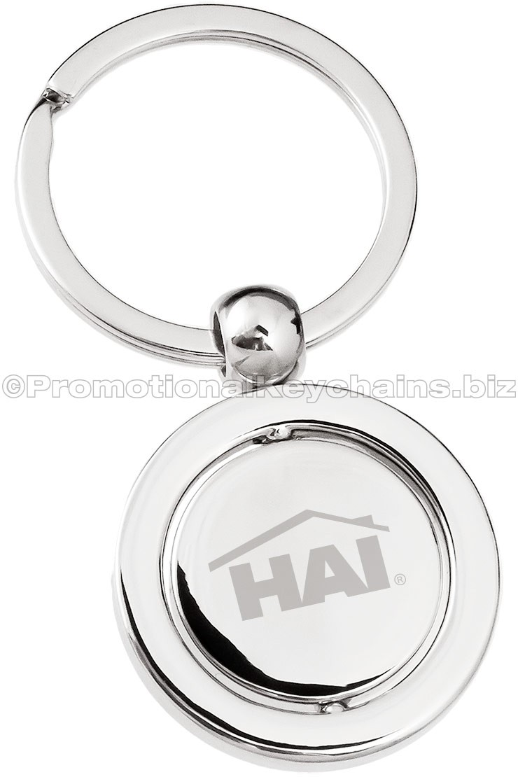 Axis Spinning Engraved Metal Keychains Polished Silver