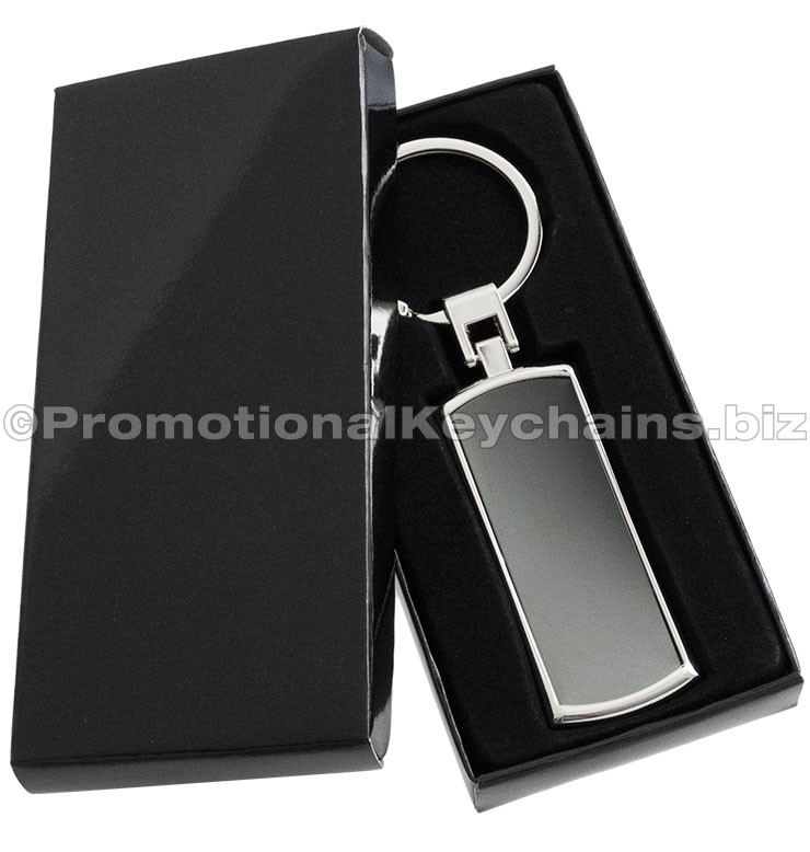 Curved Onyx Rectangle Premium Collection Custom Engraved Keychains