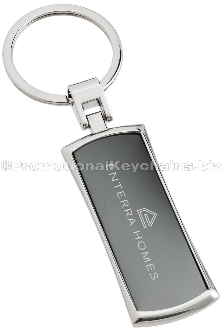 Promotional Keychains Premium Collection: Curved Onyx Metal Rectangle Engraved Keychain