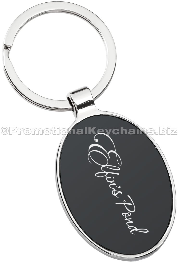 Custom Engraved Black Series Oval Metal Keychain