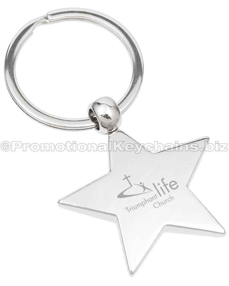 Polished Classic Star Custom Engraved Metal Keychain