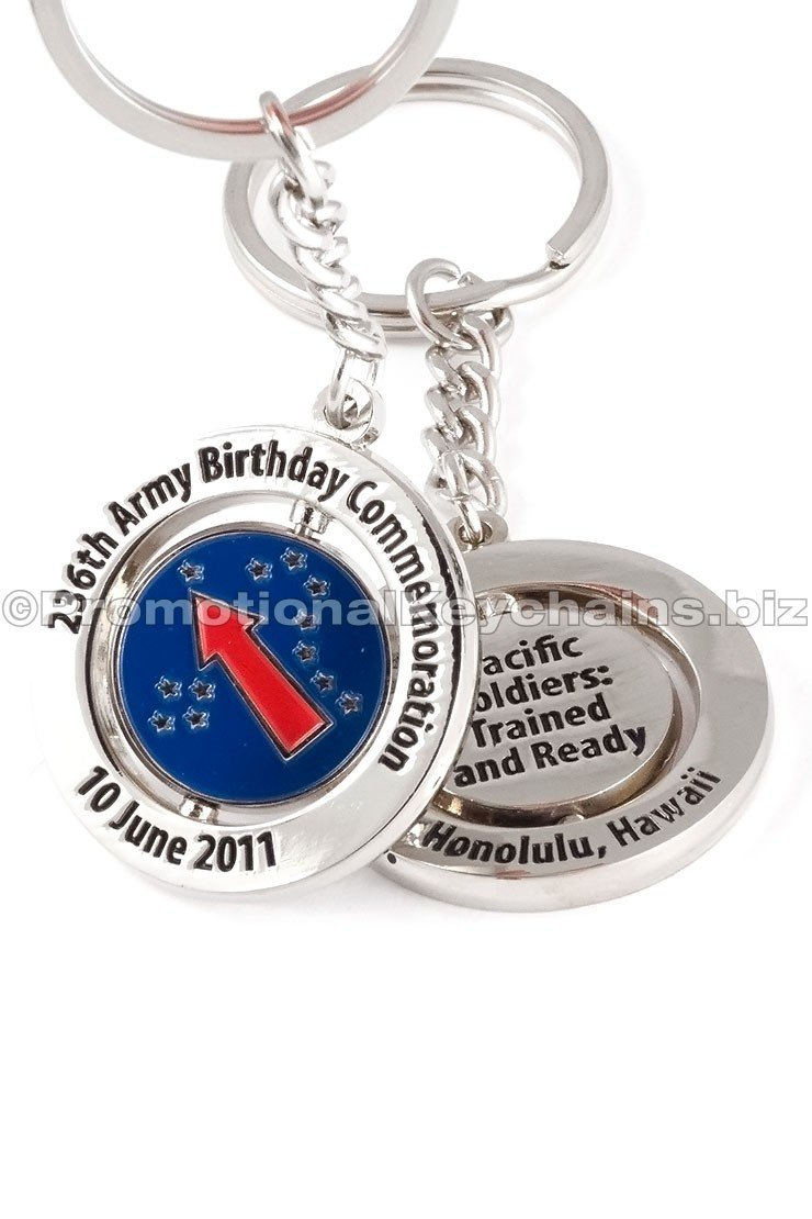 Custom Made Keychain With Spinning Metal Center - Army Birthday Celebration