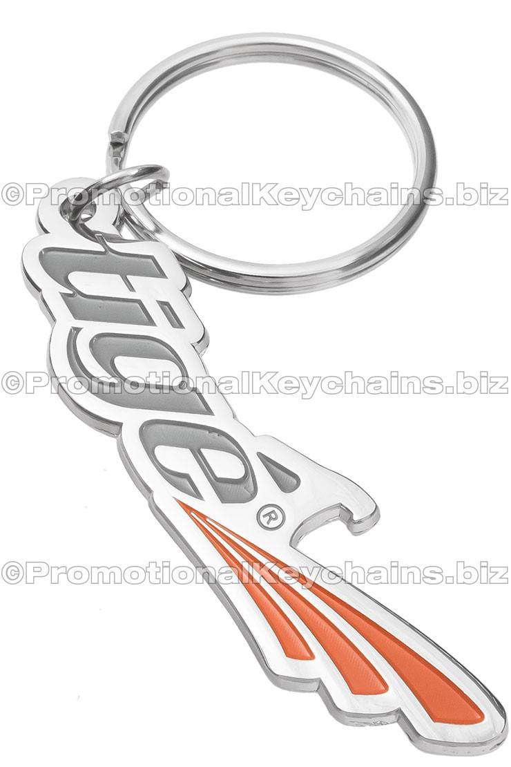 Custom Logo Shaped Metal Bottle Opener Keychains - Polished Nickel With Color Fill