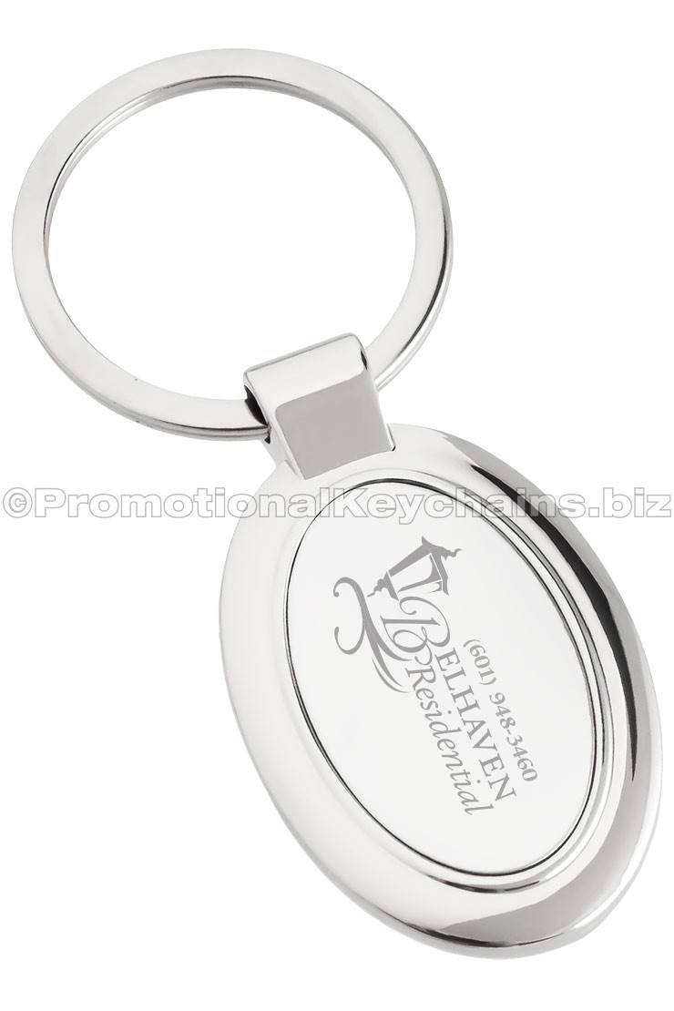 Elegant Oval Custom Engraved Polished Metal Keychain