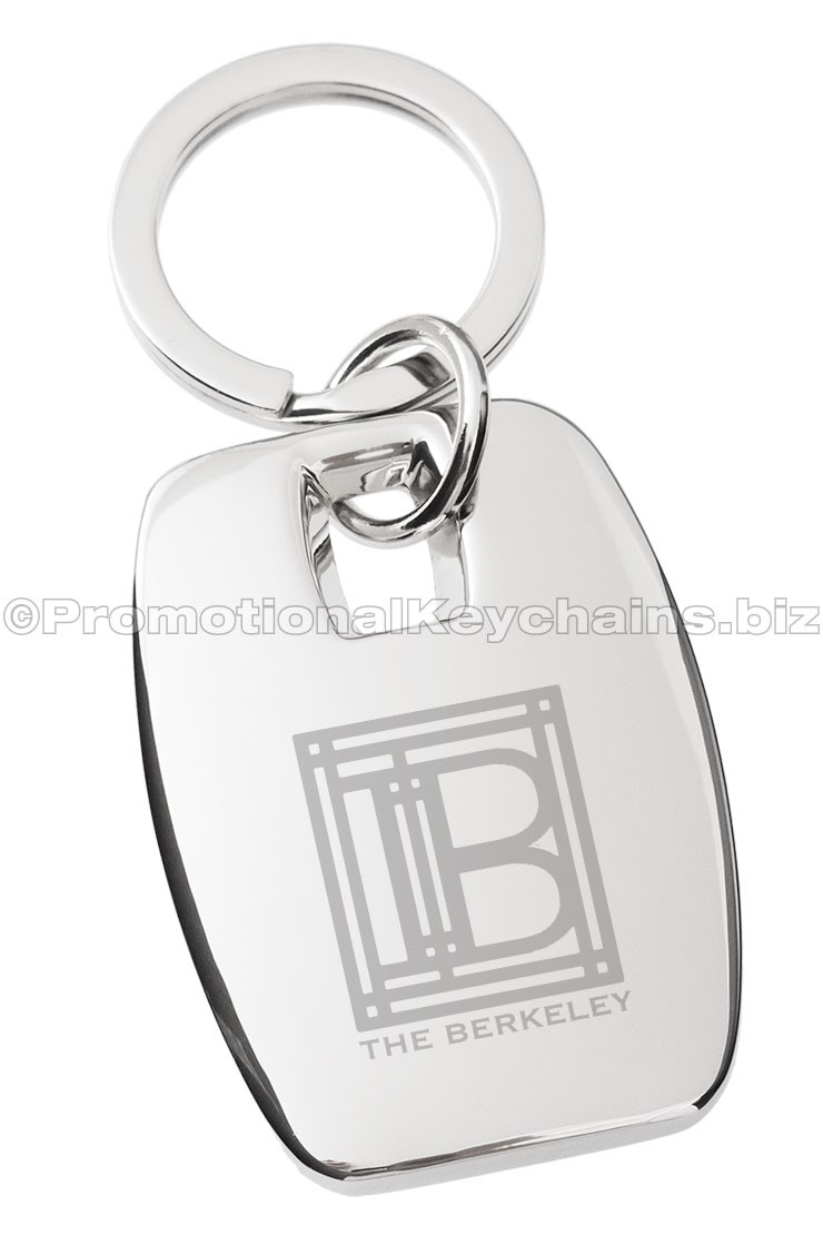Glistening Rectangle Engraved Metal Keychain
