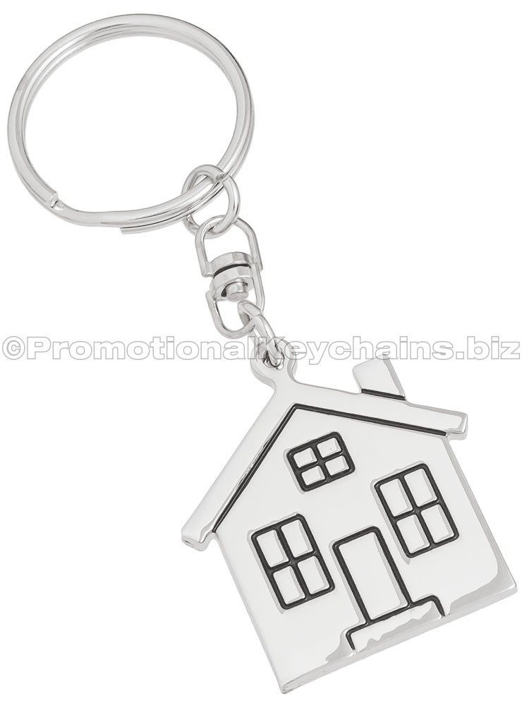 No Place Like Home House Engraved Keychain