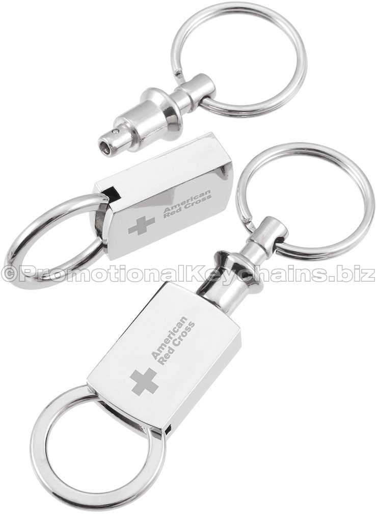 Polished Radius Pull & Twist Valet Engraved Keychain