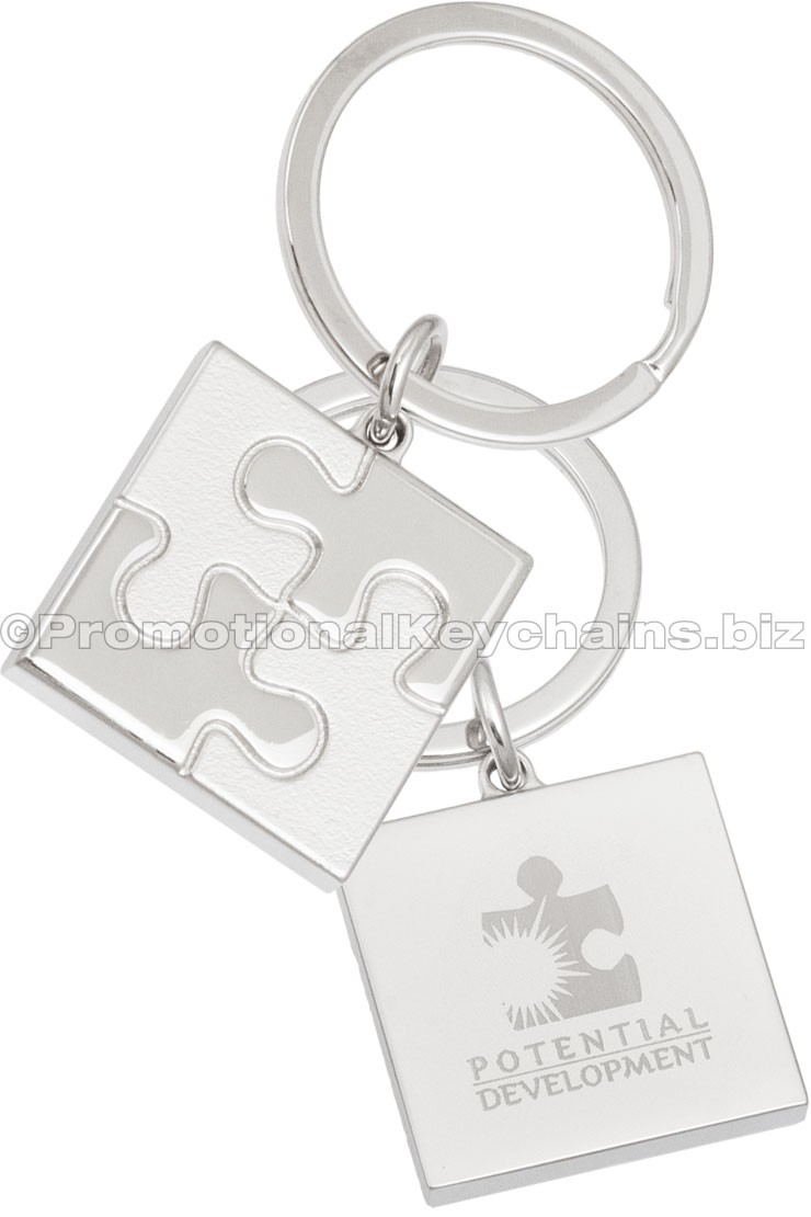 Puzzle Piece Engraved Metal Keychain