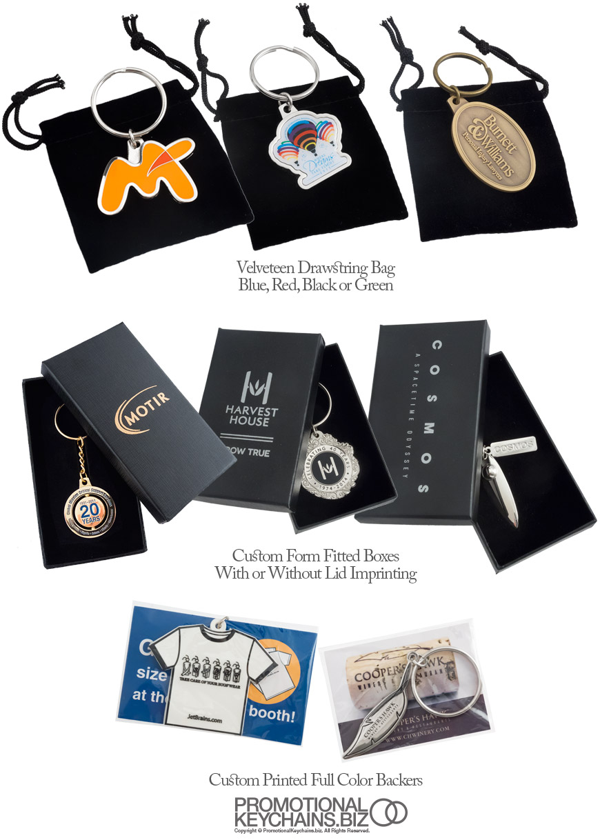 Presentation Packaging Options for Custom Made Keychains