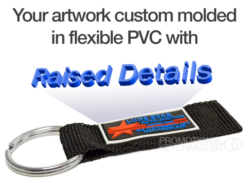 Raised details on Promotional Keychains custom PVC straps