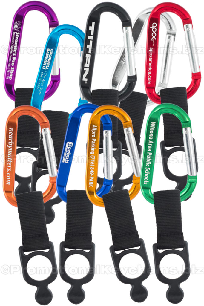 Promotional Keychains Engraved Carabiners With Bottle Holder Strap